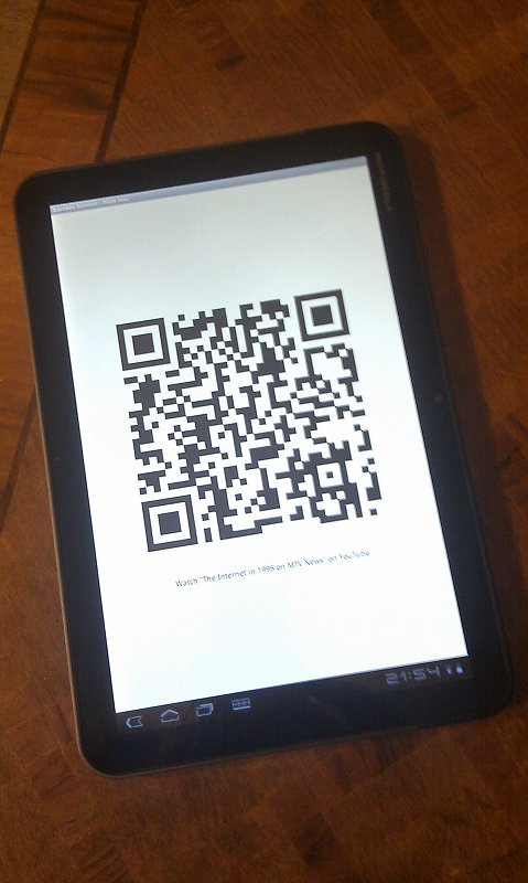 Xoom with QR code by Barcode Scanner