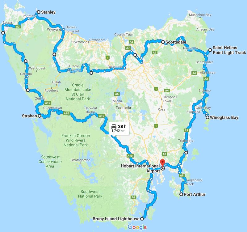 2017-12 Tasmania route